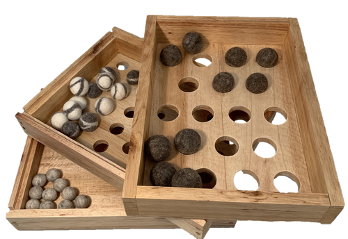 Trays come with 10 felt balls each in 3 sizes (30pc). The trays themselves are made with Fair Trade and sustainably sourced wood and can be used upside down as well. Combine with any kind of objects you may have.