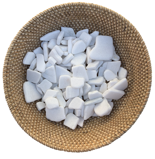 Gorgeous sparkly white flat rocks, so many play possibilities. Size and colours vary