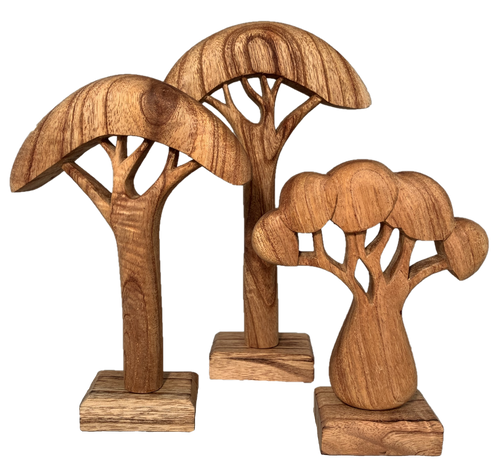 These trees are hand carved and simply finished with a natural oil. (Also available in a hand painted finish, see W/P149)