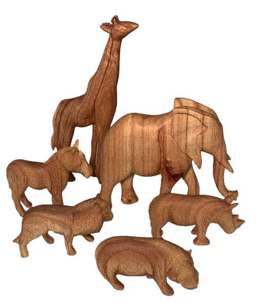 Hand carved wooden animals, simply finished with natural oil.