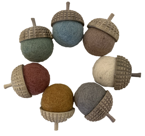 Earth Acorns, one each of the 7 Earth colours.