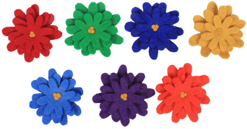 Seven rainbow coloured flowers mounted on wood blocks
