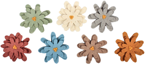 A gorgeous collection of Earth coloured flowers mounted on wood slices.