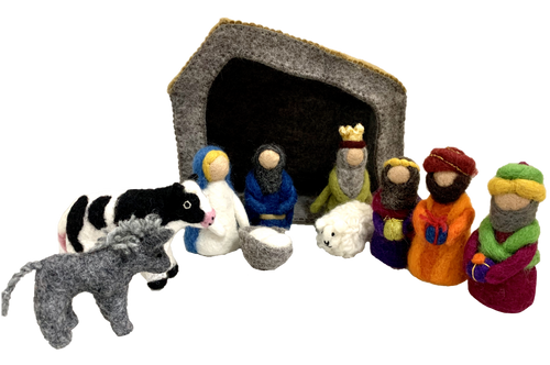 This is a boxed set comprised of the stable, Maria, Joseph and Baby Jesus in a basket, 3 wise men and a king, a donkey, a cow and a sheep. This is a decorative set. We will take orders for these up to August 31, 2020, delivery will be first week of November. Pls direct all questions to the office.