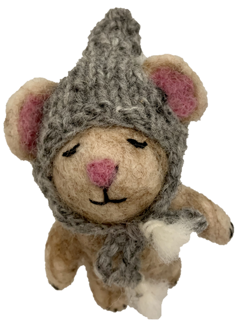 About 10cm tall, this is a very cute little mouse with a hat on.