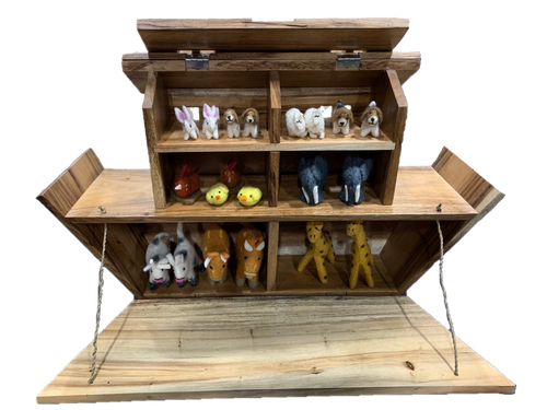 The animals are not included. We are putting a set together of 10 pairs, the animals we are showing here are just to give you an idea of the spaces in the ark. The ark is hand made from Suar wood. This amazing piece is about 70cm wide.