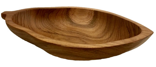 Gorgeous teak wood bowl in the shape of a papaya. 25cm long by 13cm wide