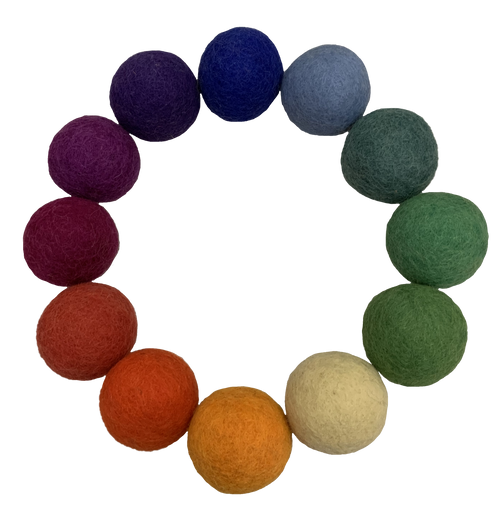 One each of the 12 colours, 5cm felt balls.