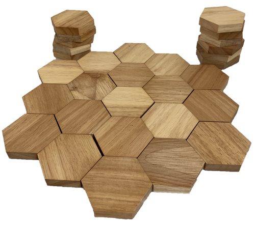 45 pieces of beautiful natural rubber wood shapes.