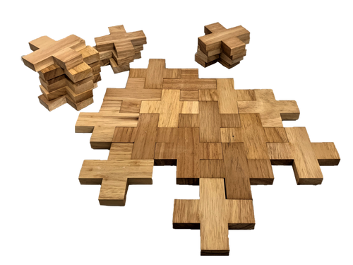 45 pieces of natural rubber wood in a plus shape. The thick 12 mm wood enables the shapes to be stacked upright as well.