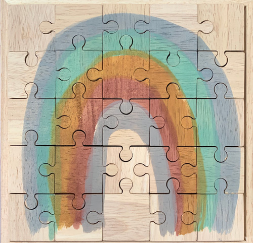 Wooden puzzle, hand painted in Melbourne with top quality German dyes.  These puzzles are double sided; the back side is blank and can also be puzzled!