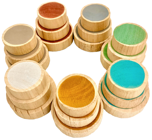 Earth Coins, Set of small, medium and large wooden discs in each of the 7 Earth colours. Disc sizes: 5-6-7cm Diameter by 2cm thickness One side is hand painted, the other side is blank