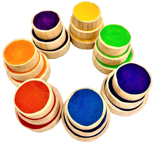 A set has 7 colours with a small, medium and large coin in each colour. Red, Orange, Yellow, Green, Blue, Purple, Indigo. 5,6 and 7cm diameter, 2cm thick