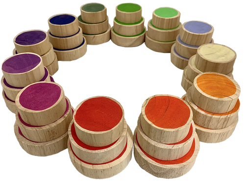 Each colour of the Goethe story in a set of 3 wooden slices, 5-6 and 7cm diameter by 2cm thick. Lots of play opportunity, one would be to play a memory game.