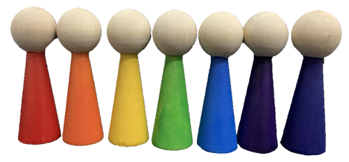7 Hand painted wooden gnome bodies in the rainbow colours