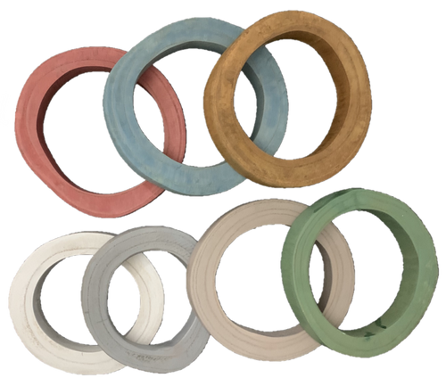 There are 4 of each colour in the set, the wooden rings are natural and vary in shape and size