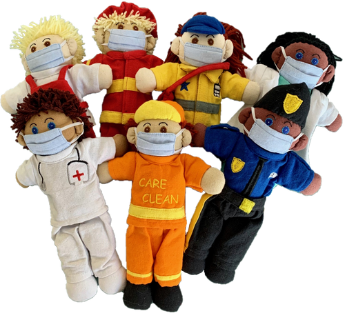 Every Day Heroes, set of 7 dolls. Face mask is removable, sewn onto one side only.