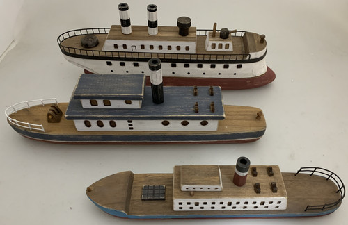 The set of 3 boats,  sold per set.