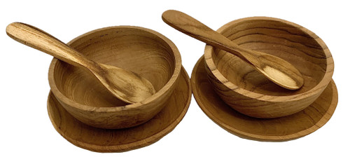 Baby Desert Set, 2 bowls 6x3cm, 2 plates, 8cm D and 2 mini spoons. Made from teak.