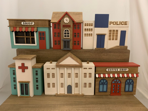 There are 6 buildings in this set. We do not sell them individually.  The largest building is the council building (the white one in the front) 24x6.5x20cm, the smallest ones are the hospital and the school 15.5x7x19.