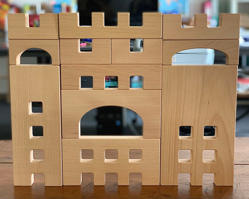 The Fortress, available in a single set as shown or a double set. Our lucite cubes will fit on the square openings. The middle row pieces are 20cm wide, the left  pieces are 10cm and the ones on the right are 15cm wide. Supplied in a wooden tray.