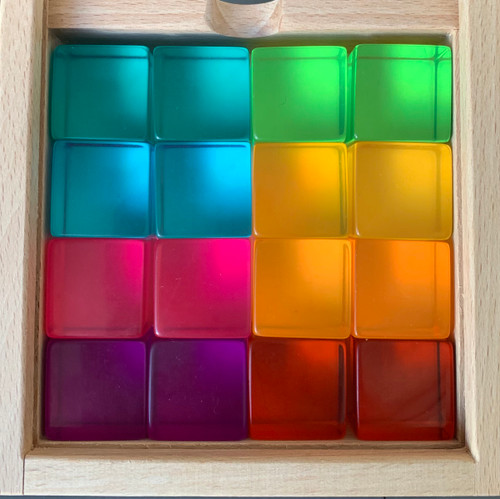 Our own brand of Lucite cubes, this set is 16 pieces mixed colours and comes in this cute little box.