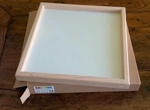 Empty Wooden Tray from Bauspiel with cardboard box. Size is 25.5cm square (inside size) or outside size:  27.5cm x27.5cm x 3.5cm. Limited availability.
