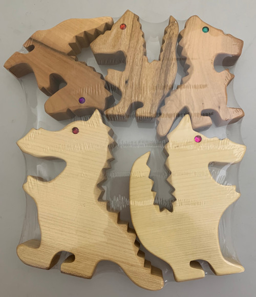 Dragon Family in Natural wood.