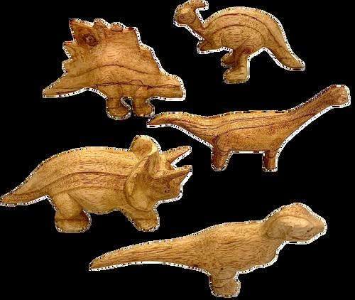 Hand Carved Dinosaurs, average length 16cm