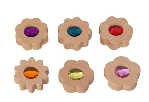 Six flowers with counting petals from 5 to 10 in block style (as our double gem blocks)