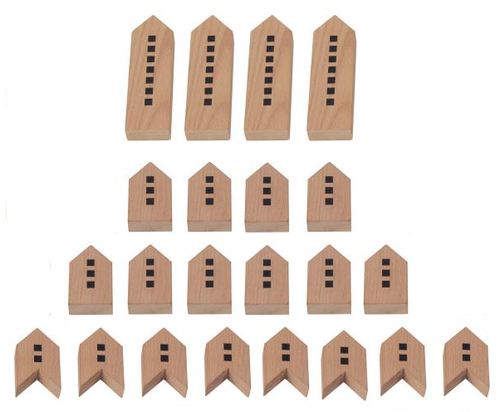 The actual set includes 4 tall buildings,  10 medium buildings and 8 V-shaped stacker buildings.