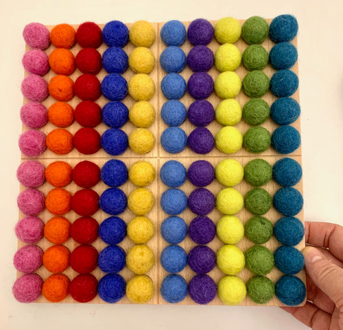 Our Bright Montessori Board comes with 10x10 brightly coloured felt pompoms, each one is 2cm diameter.