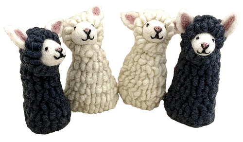 Four Sheep Finger puppets. also lovely for small world play.