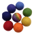 Seven solid coloured balls and one multi coloured rainbow ball.