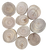 10 natural Jempini wood slices, sizes vary.