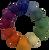 One each of the 12 colours, 5cm felt balls.