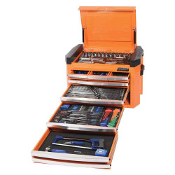 Kincrome Contour 236pce 8 Drawer 1/4, 3/8 and 1/2 Square Drive Imperial and Metric Cart Kit - Orange #K1507O