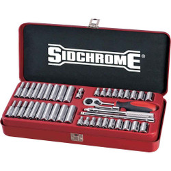 Sidchrome 43pce Combo Socket Set 1/4 - Metric and AF - SCMT12130