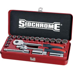 Sidchrome 20pce Socket Set 1/2 Metric - SCMT14208