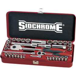 Sidchrome 37pce Combo Socket Set 1/4 and 1/2 Metric and AF - SCMT19130