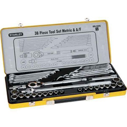 Stanley 38pce Metric and A/F 1/2 Drive Socket and Spanner Set # 89.505