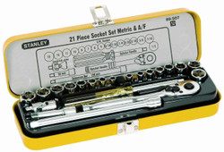 Stanley 21pce Combo AF and Metric Socket Set 1/4 #89.507