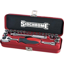 Sidchrome 23pce Combo Socket Set AF and Metric 1/4 - SCMT12110
