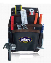 BuildPro 10 Pocket Oil Tanned Leather Nail and Tool Bag - LWNBOT10