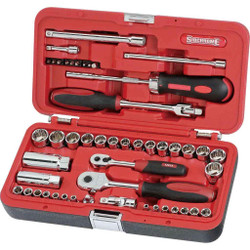 Sidchrome 56pce 1/4 and 3/8 Socket Set - Metric and AF - SCMT10351
