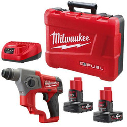 Milwaukee M12 FUEL Brushless 12v Lithium Ion Rotary Hammer SDS Plus KIT #M12CH-402C