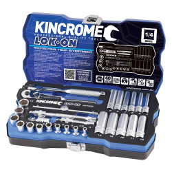 Kincrome LOK-ON 28pce 1/4 Square Drive Socket Set - K27002