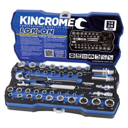 Kincrome LOK-ON 44pce 1/4 and 3/8 Square Drive Metric and Imperial Socket Set #K27031