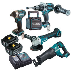 Makita 5pce Cordless 18v 5.0Ah Lithium-Ion Brushless Combo Kit BONUS - DLX5029T