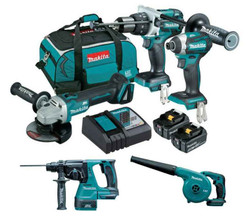 Makita 5pce Cordless 18v 5.0Ah Lithium-Ion Brushless Combo Kit BONUS - DLX5035T